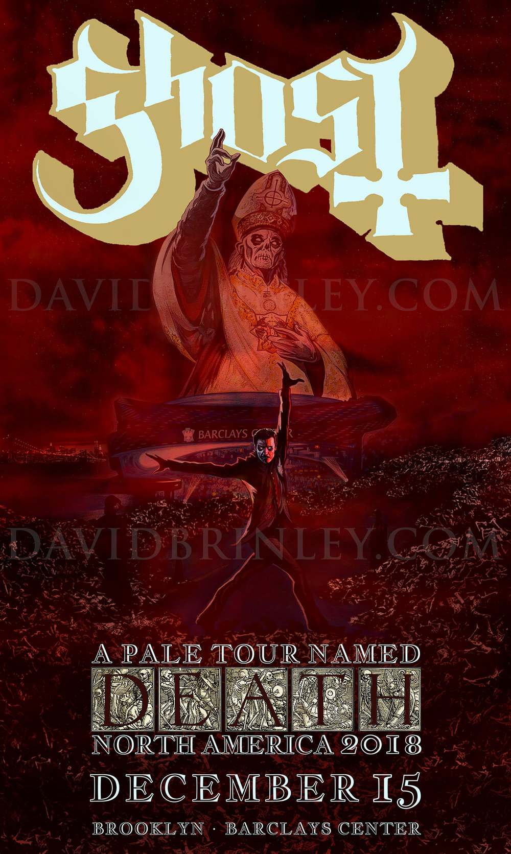 GHOST | Brooklyn Barclays Center | December 15, 2018   A Pale Tour Named Death Official poster  David M. Brinley | Illustrator Designer  Acrylic and Digital