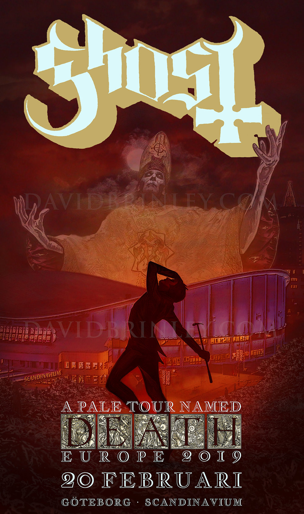 GHOST | Gothenburg Sweden Scandinavium | February 20, 2019   A Pale Tour Named Death Official poster  David M. Brinley | Illustrator Designer  Acrylic and Digital
