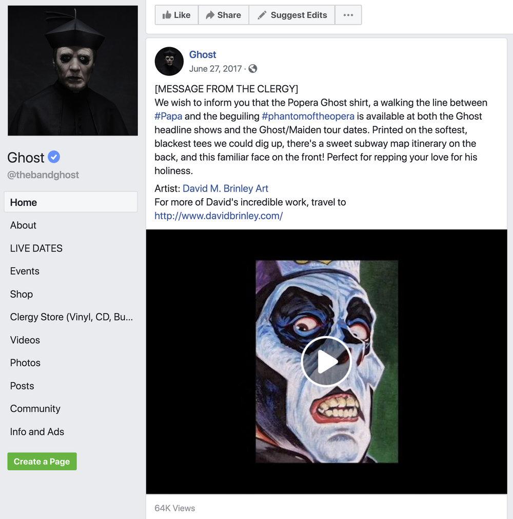 GHOST | Official Facebook post   David M. Brinley Illustration and Design