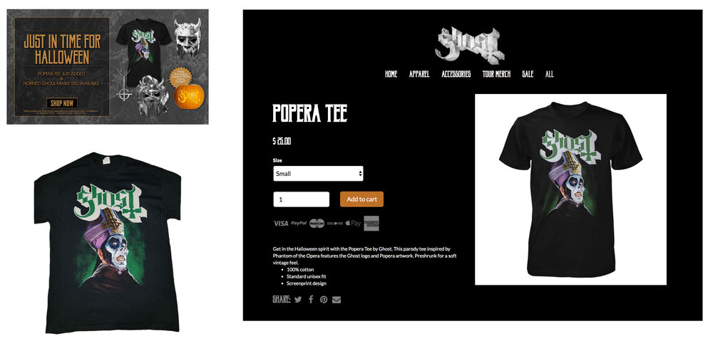 GHOST | Popera t-shirt | 2018 Halloween release