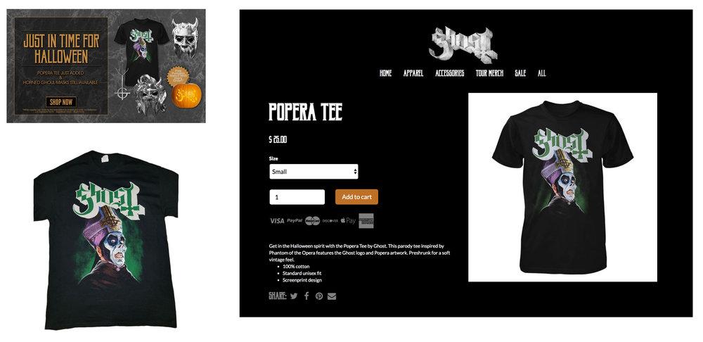 GHOST | Popera t-shirt | 2018 Halloween release