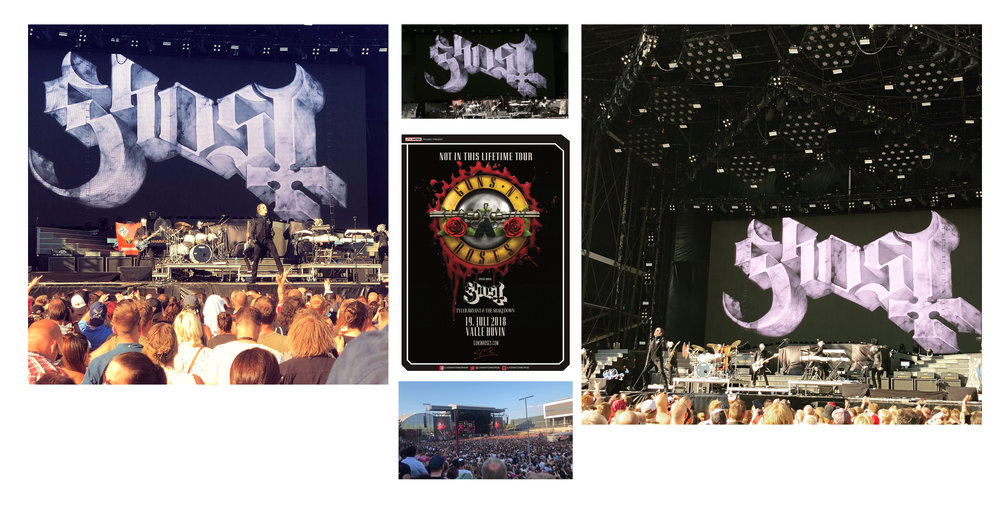 GHOST | rear projection marble logo   Opening for Guns 'n' Roses July 19, 2018 | Oslo, Norway  Acrylic on paper and digital