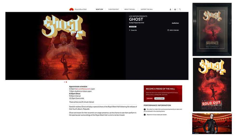 GHOST | Royal Albert Hall | September 9, 2018   A Pale Tour Named Death Official poster  David M. Brinley | Illustrator Designer  Acrylic and Digital