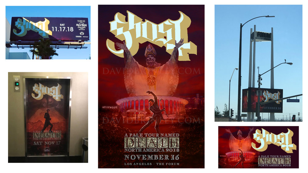 GHOST | Los Angeles Forum & Hard Rock Hotel and Casino Las Vegas   Official concert promo poster and billboard/marquee graphics