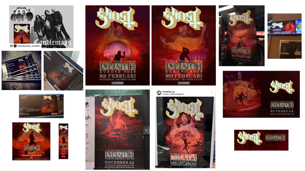 GHOST | A Pale Tour named Death 2018/2019   Official concert promo posters, t-shirts, tickets and marquee graphics