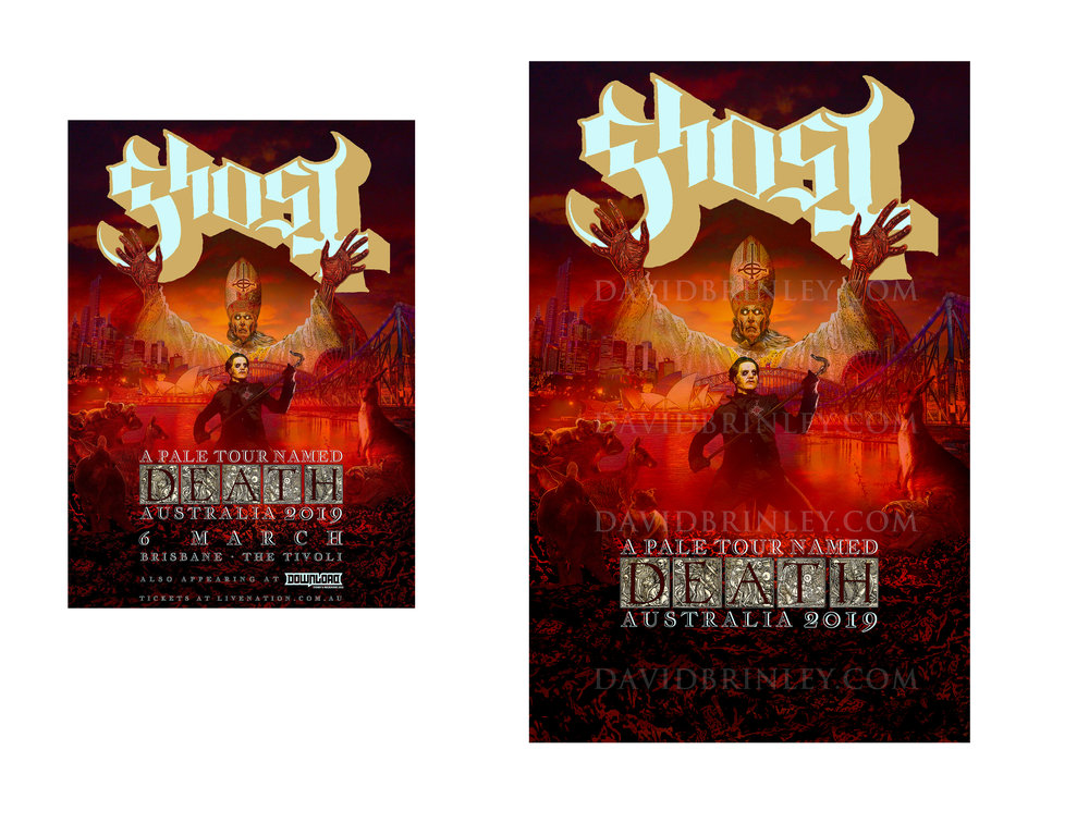 GHOST | Australia 2019   A Pale Tour Named Death Official poster  David M. Brinley | Illustrator Designer  Acrylic and Digital