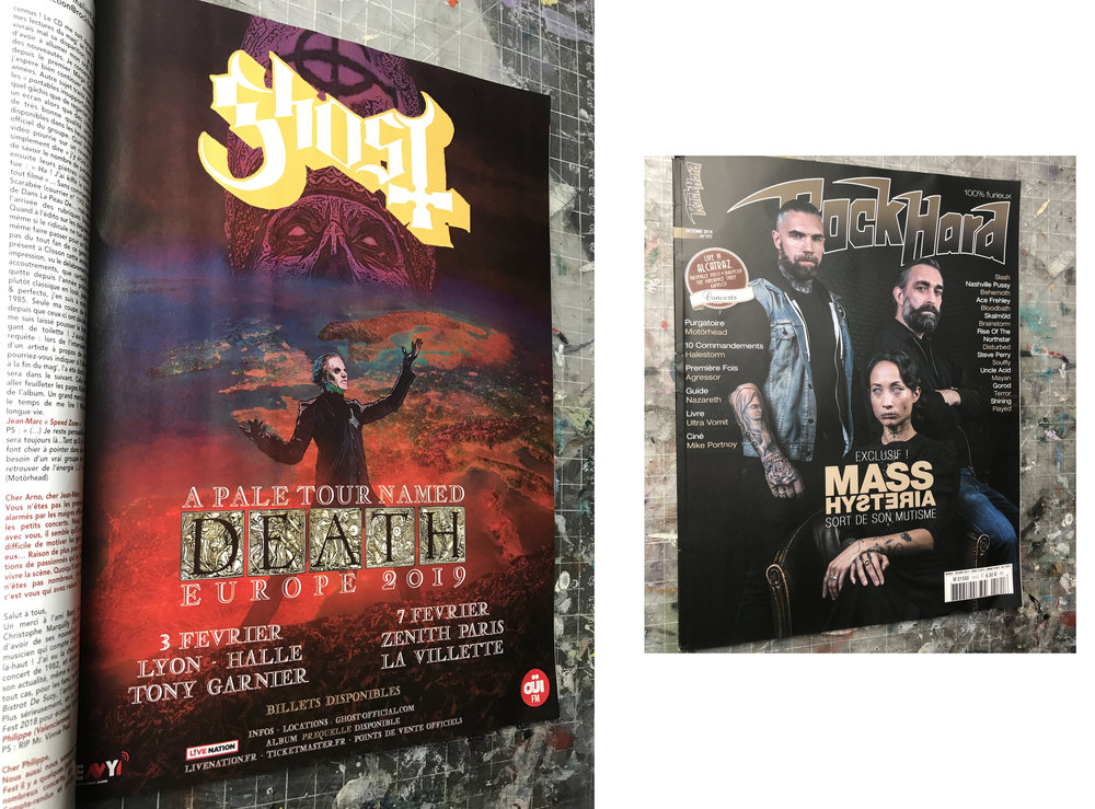 GHOST | A Pale Tour named Death 2019 France poster |    Rock Hard France magazine advert | October 2018 (issue #191)   Official concert promo