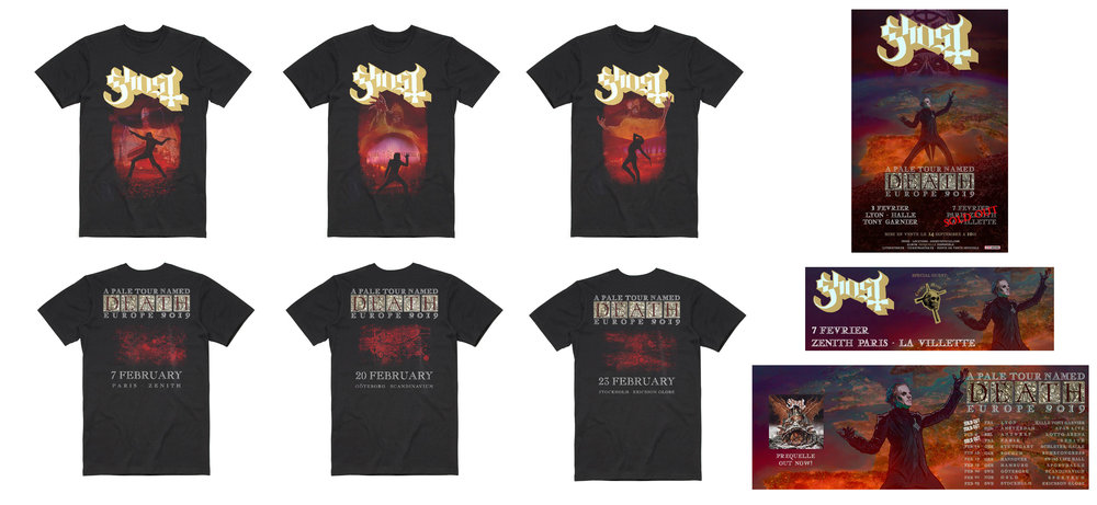 GHOST | A Pale Tour named Death 2019   Official limited edition concert t-shirts and venue promo