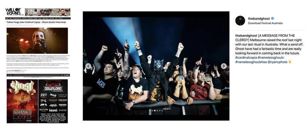 GHOST A Pale Tour Named Death merchandise 2019 Australia Downloa