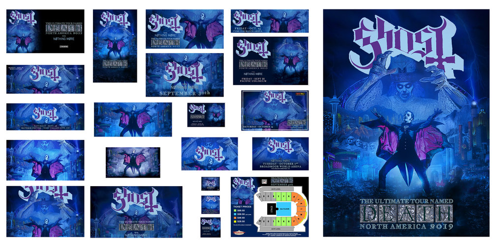 GHOST | The Ultimate Tour Named Death | North America 2019   Acrylic and digital  various web banners created by venues