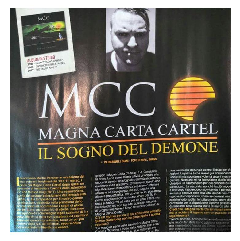 Magna Carta Cartel The Demon King EP     Martin Persner interview   Rock Hard Italy magazine   Summer 2018
