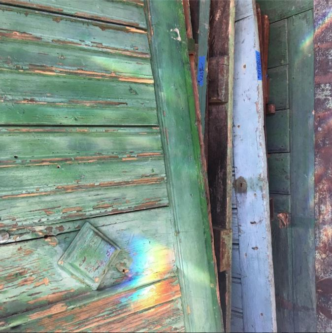 Scouting old European farm doors for a fun Julian renovation...  #whatanarchitectdoes   #antiquedoors   #farmhousedoors   #peelingpaint   #green   #blue   #architecturalsalvage   #sandiegoarchitect   #interiordesign   #kbarch   #kristibyersarchitect   #doors   #scouting   #design   #architecture   #texture   #vintage   #vintagedoors   #rustic   #rusticmodern