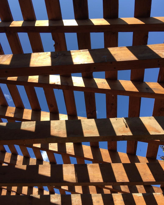 1950's framing and blue skies...  #mid -century  #midcenturymodern   #midcenturymodernarchitecture   #missionhills   #renovation   #modernrenovation   #moderndesign   #midcentury   #respectthecraft   #design   #blueskies   #whatanarchitectdoes   #kbarch   #kristibyersarchitect   #framing   #pattern   #textures   #shadows   #wood   #woodframing