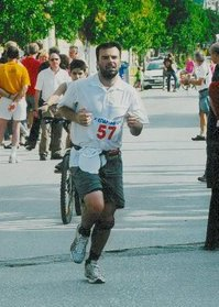 Finishing the Spartathlon in 2010 - looking pretty stylish too