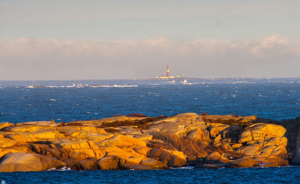 Færder fyr sett fra Vesterøya i Sandefjord.