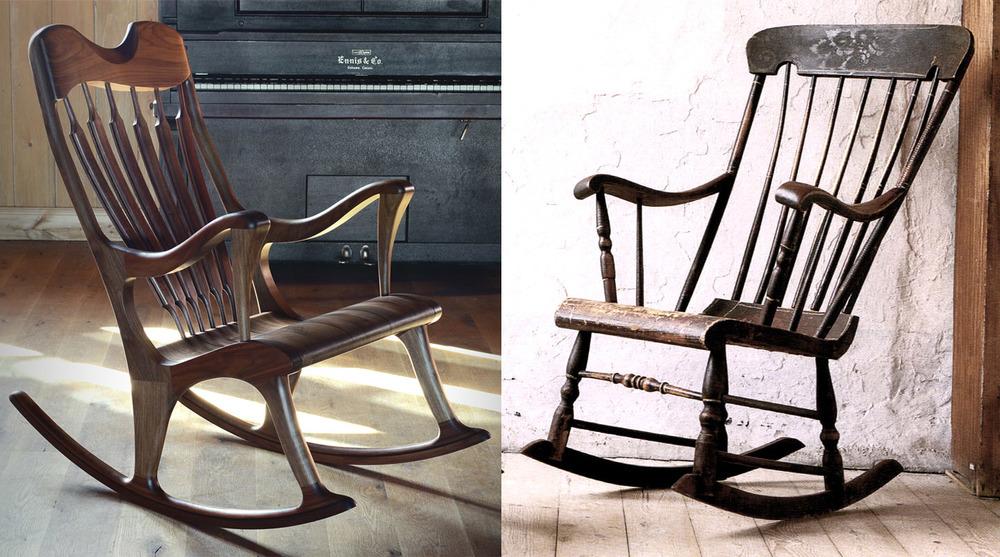 La  chaise berçante Ekko  est fortement inspirée par la Boston. Il s'agissait, au moment de la création, de réinventer la chaise berçante de Boston