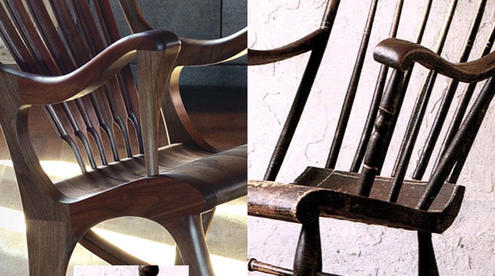 Les appuis-bras et le siège sont les lignes directrices de l'oeuvre. Bien que les appuis-tête sont très différents, ils sont pour l'une comme pour l'autre un trait distinctif de leur design.