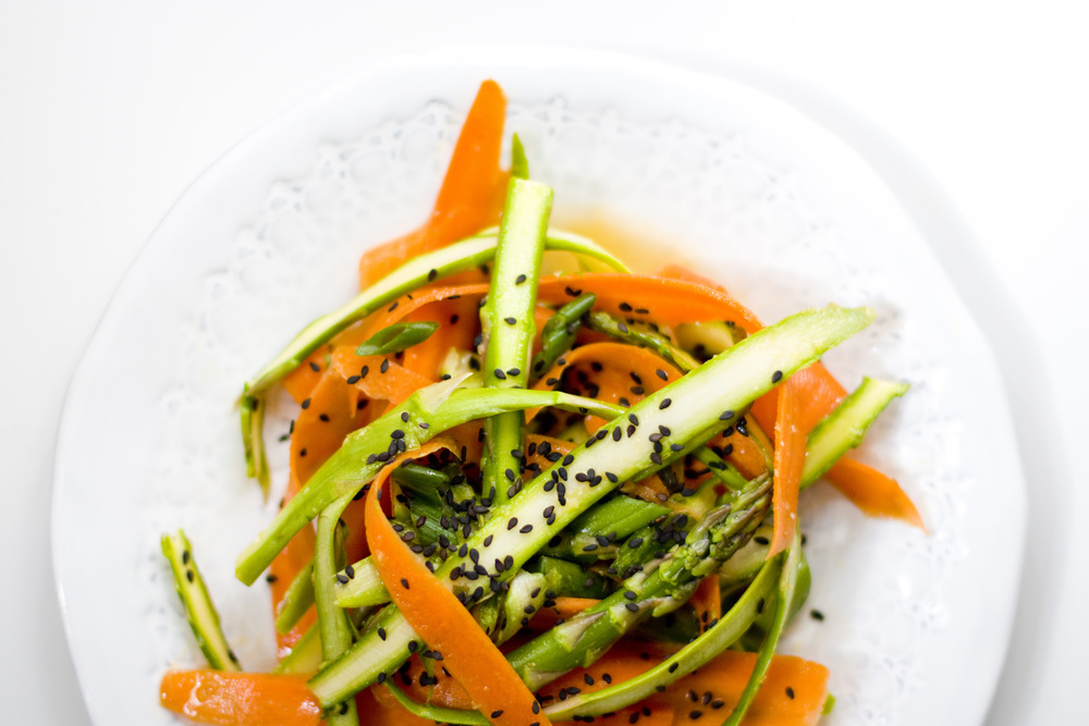 ribboned asparagus and carrot salad :: sesame, miso, ginger