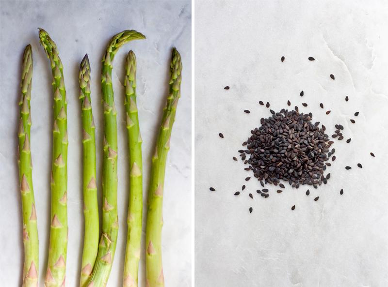 ribboned asparagus + carrot :: sesame, miso, ginger