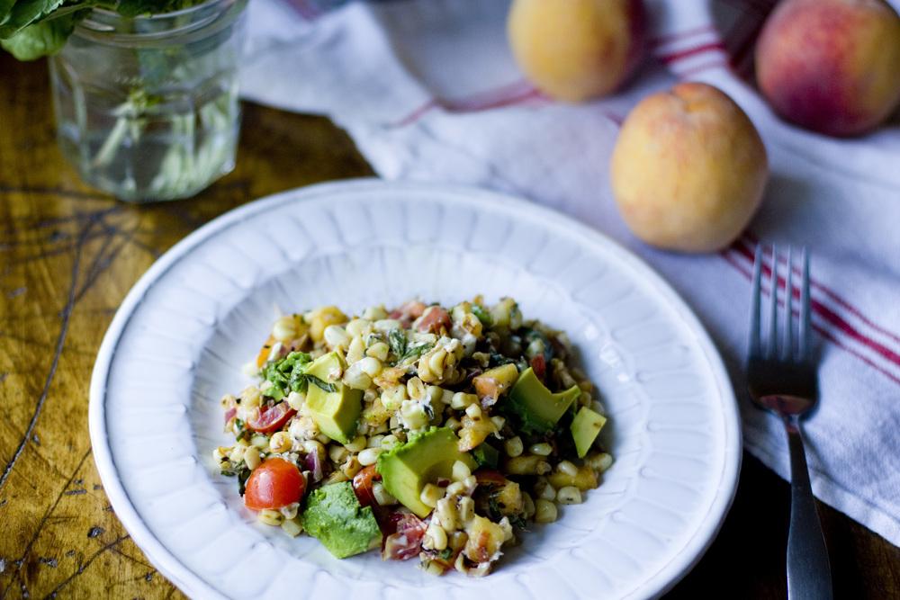 toasted corn + peach salad