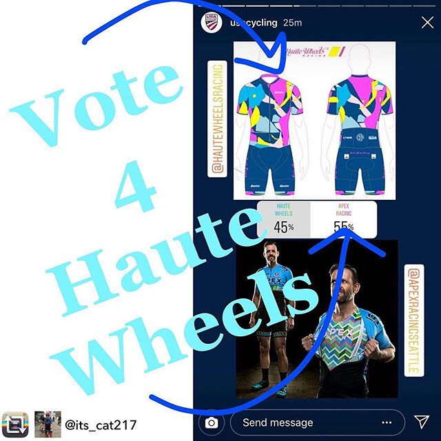 """ONE DAY ONLY!!! Instagram friends, @hautewheelsracing needs your vote!  Go to @usacycling on IG and view the stories to vote for our new kits to be #bestinkit2019! When this pops up (3rd kit pairing image in the story), just touch """"Haute Wheels"""" which is to left of """"Apex Racing."""" #cycling #newkit #newkitday #2019 #usacycling #outdoors #endurance #crit #races #timetrials @santini_cycling #bestinkit #houston #bikes."""