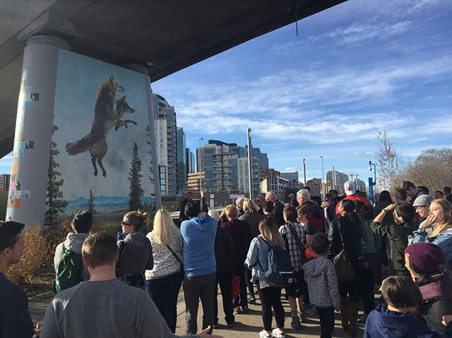 Thank you to everyone that took the time to come down today to #eastvillageyyc for my artist talk! I think we counted 120 people. I loved being able to share the story behind it with you. #loveyyc #evevents #yycartist #vancharlesart #yycart #yycpublicart #downtowncalgary #yycevents #yyc #calgary #exploreyyc #explorealberta #riverwalk