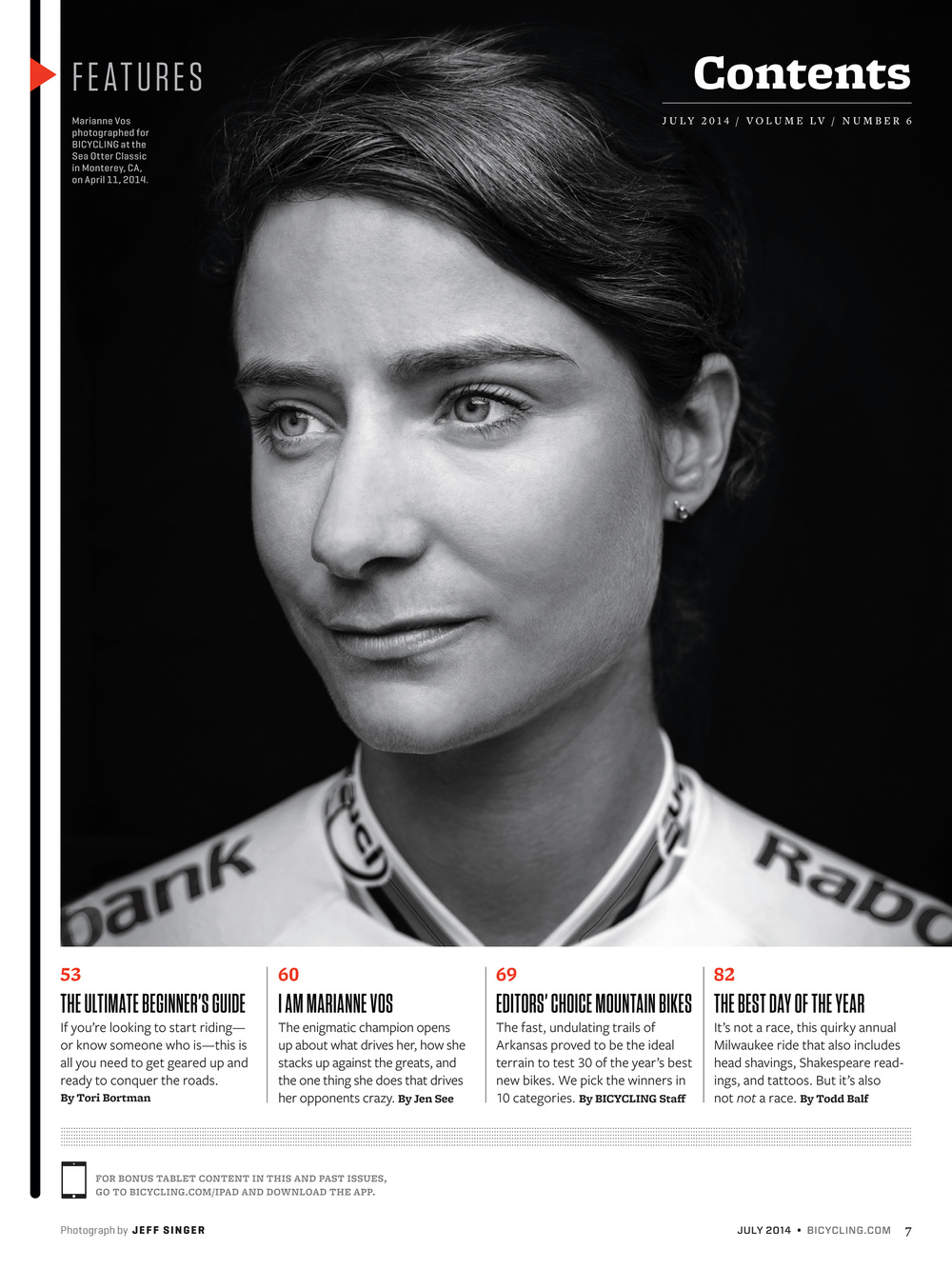 Marianne Vos, Bicycling Magazine Contents Page