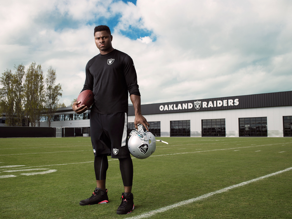 Oakland Raider Khalil Mack at the Raider's practice facilities in Oakland California