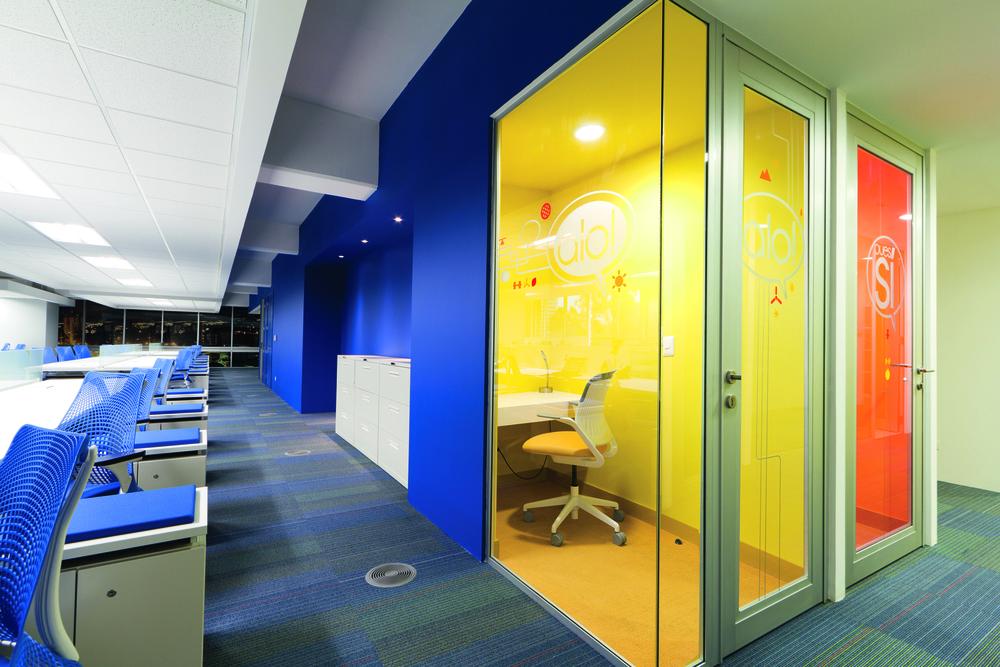 En este proyecto se combinó el área operativa, con espacios privados.
