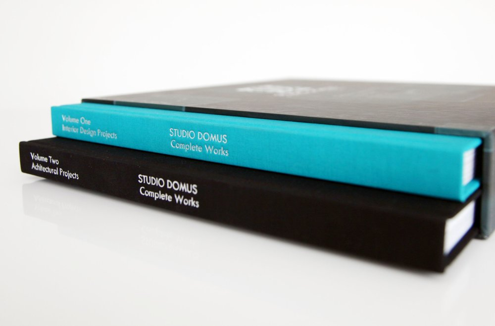 "Our two volumes of  ""Studio Domus Complete Works"" with a selection of architectural and interior design projects."