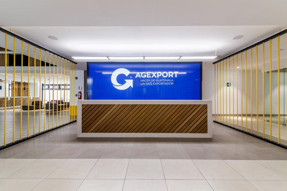 Área de Lobby en las nuevas oficinas de AGEXPORT