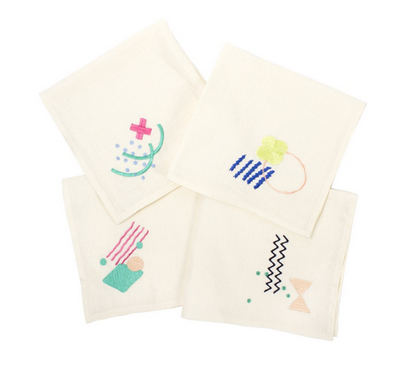 Embroidered napkin set. $55