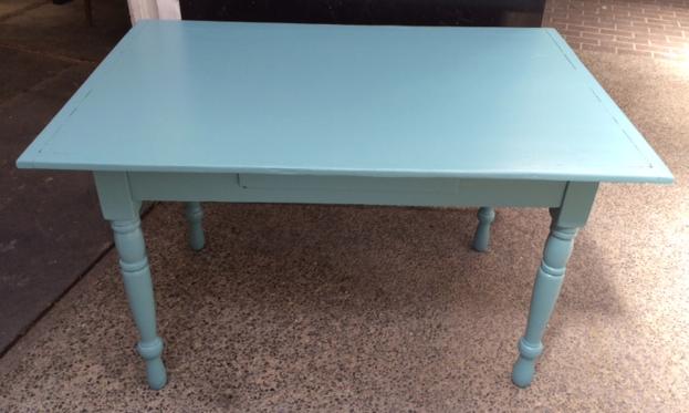 """Teal farm table. 48.5""""w - 30""""h - 32""""d"""