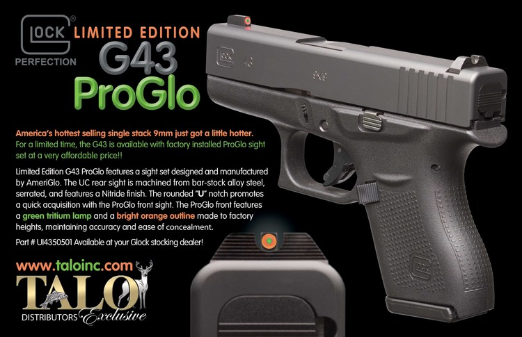 Glock G43 Talo W Ameriglo Night Sights Or Fixed Sights