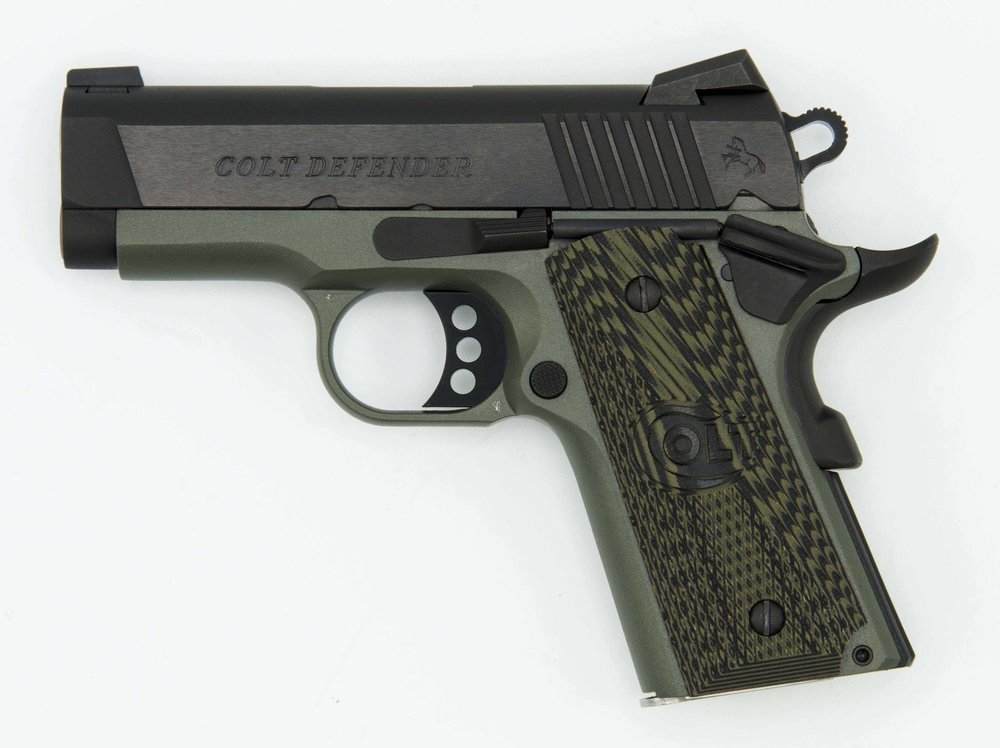 "O7800XE-FG     200 units (labeling 1 of 400) ""Defender, 45 Cal. 3"" Barrel, Foliage Green cerakote, Blue Slide, blue controls, TALO, 1 of 400""   Thin, G-10 logo grips"