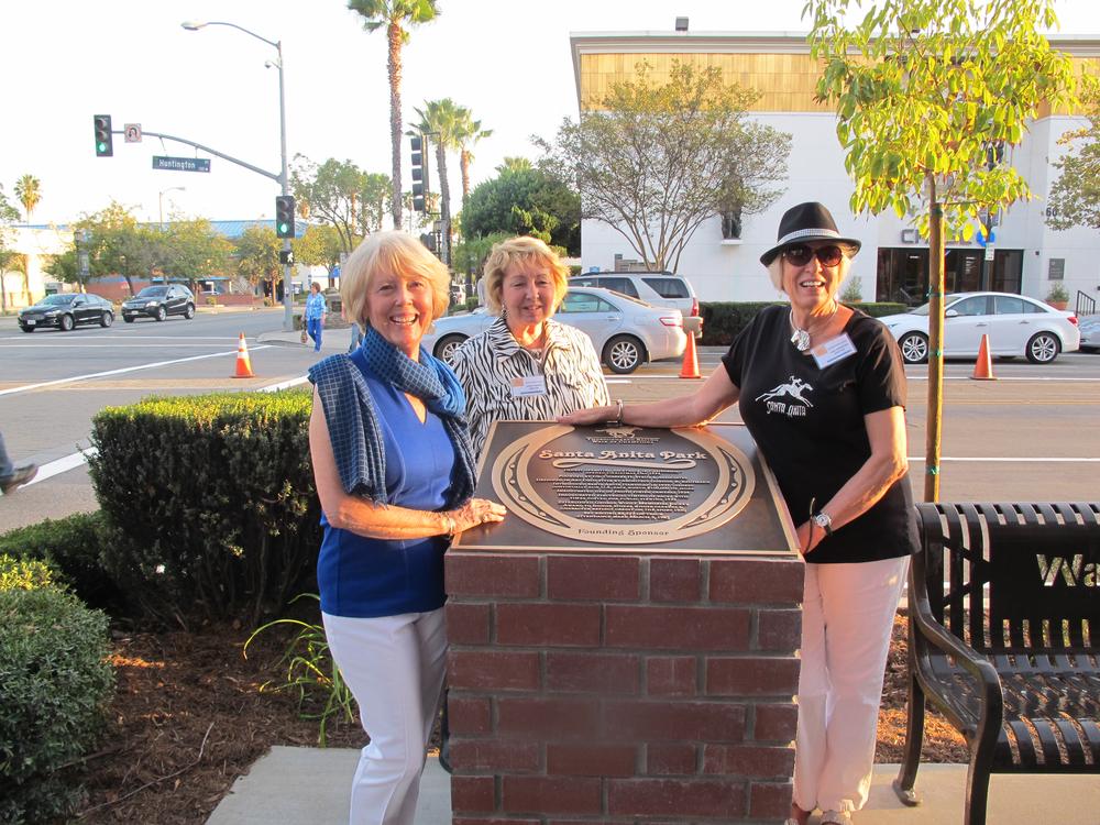 Bronze plaque-installed-on-pedestal-arcadia-walk of fame-santa anita