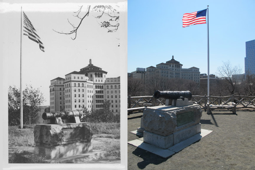 McGown's Pass site, Before and After; Black and white photo courtesy of the Central Park Conservancy.