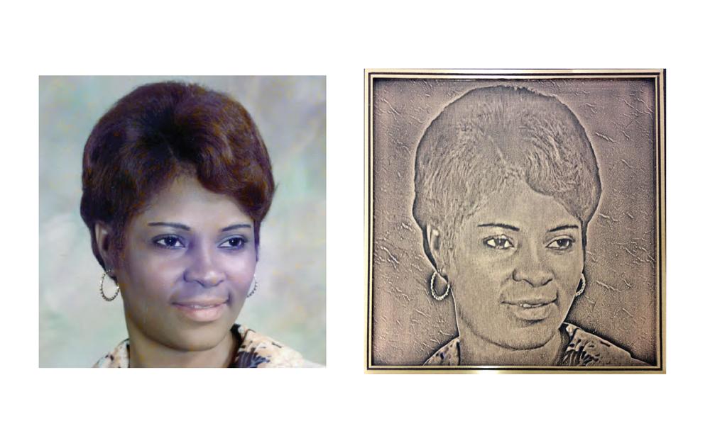 photo-rendered bronze portrait