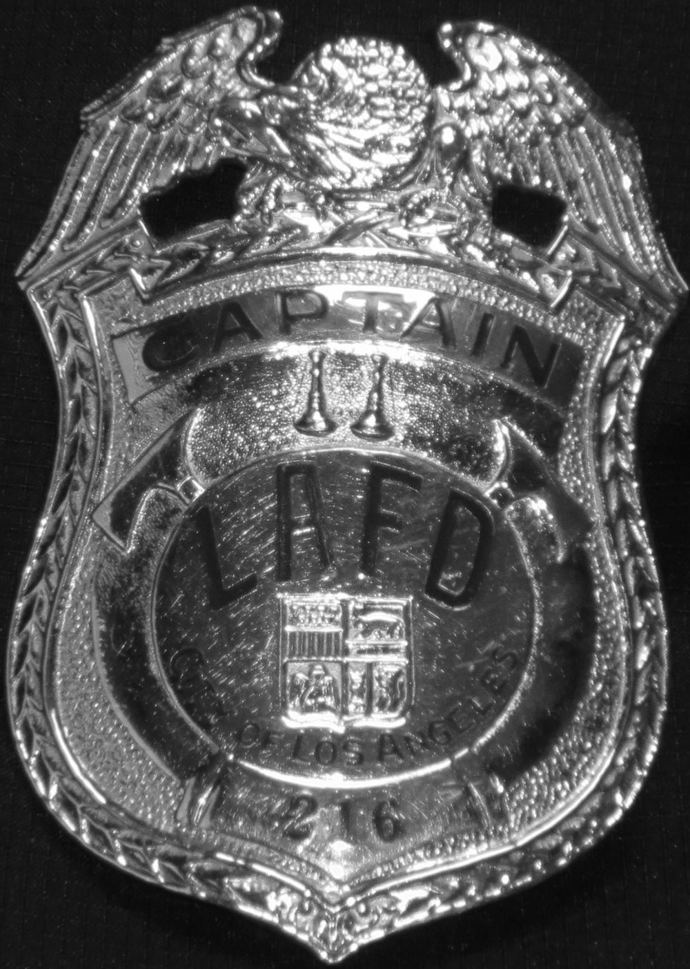 LAFD Badge, Photograph courtesy of the LAFD