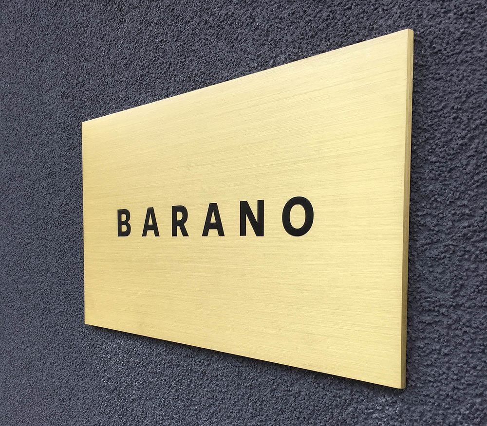 Etched plaque for  Barano Restaurant  in Brooklyn, NY.