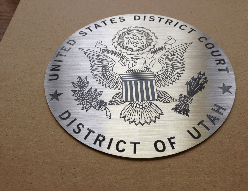 US District Court Medallion - Etched Aluminum Medallion - Masterwork Plaques