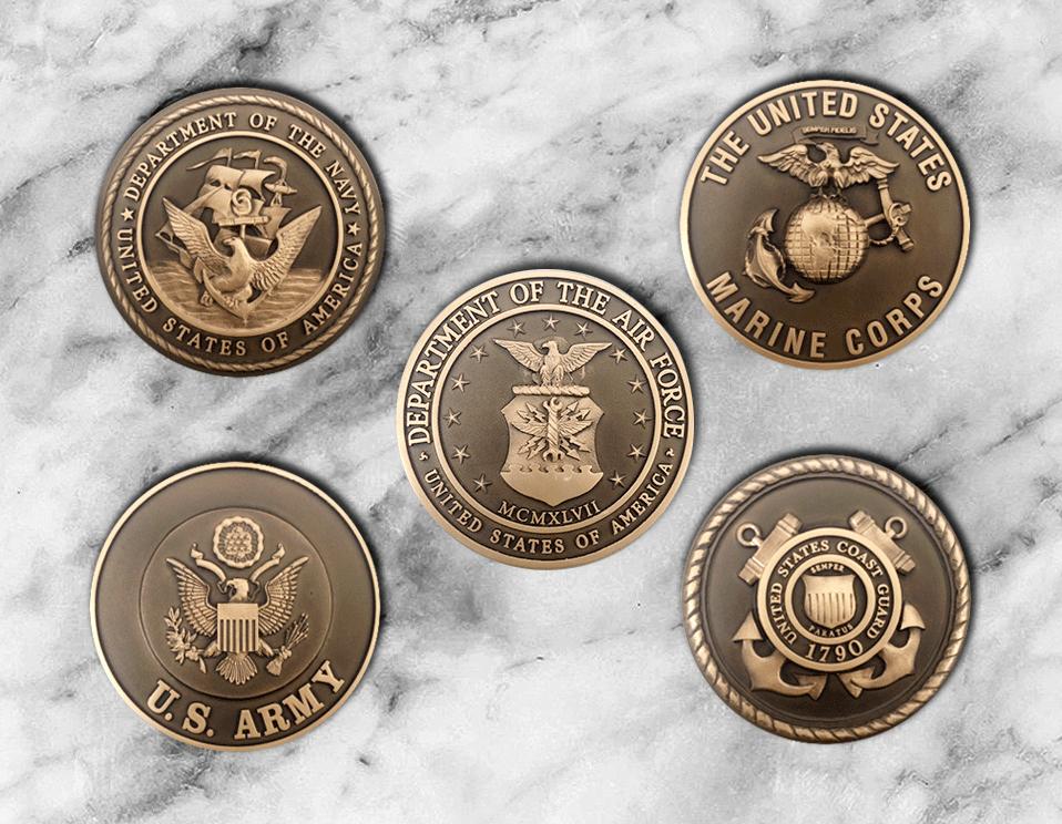 Cast Bronze Military Seals - Cast Bronze Relief Seals - Military Insignias - Masterwork Plaques