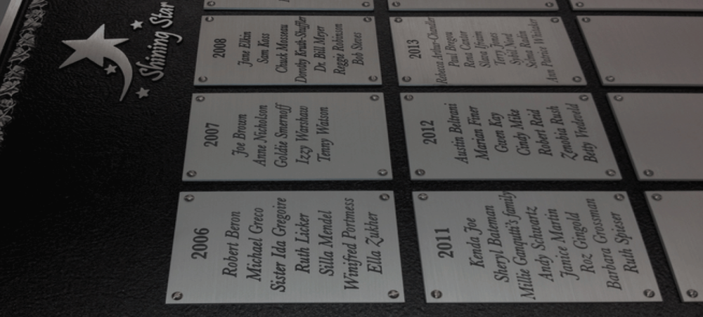 Dedication & Donor Plaques       SEE WORK