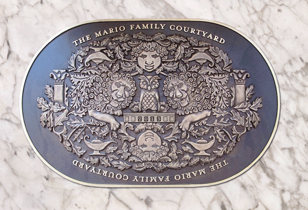 Cast Bronze Mario Family Courtyard Hand Carved Plaque