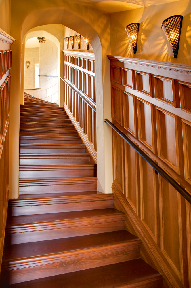 Petite vertical panels in natural cherry and cypress treads.
