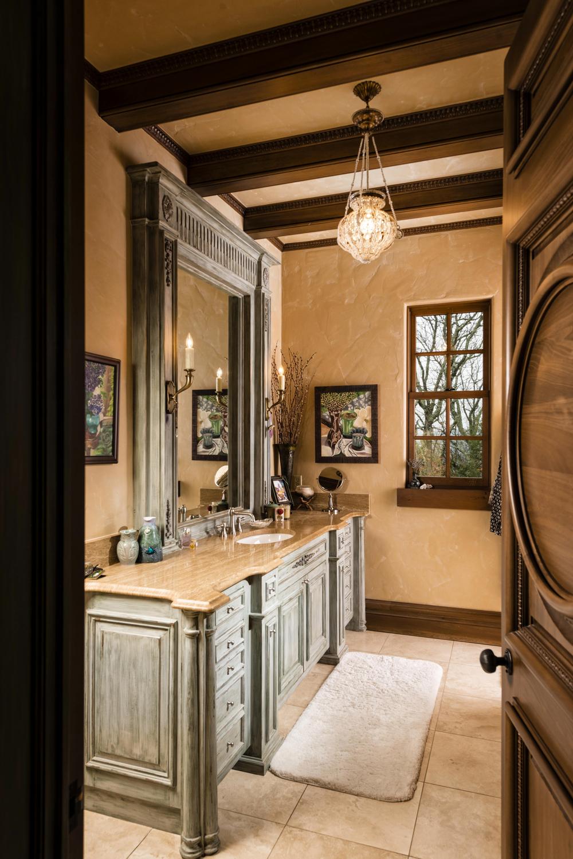 Her bath, with vanity.