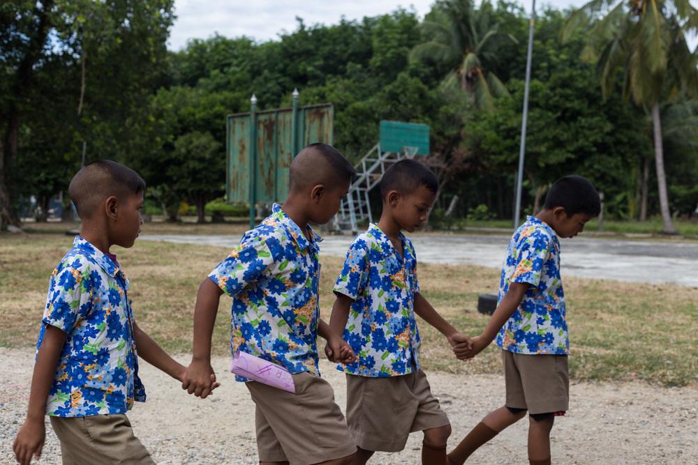 Buddhist Schoolboys Walk to Class