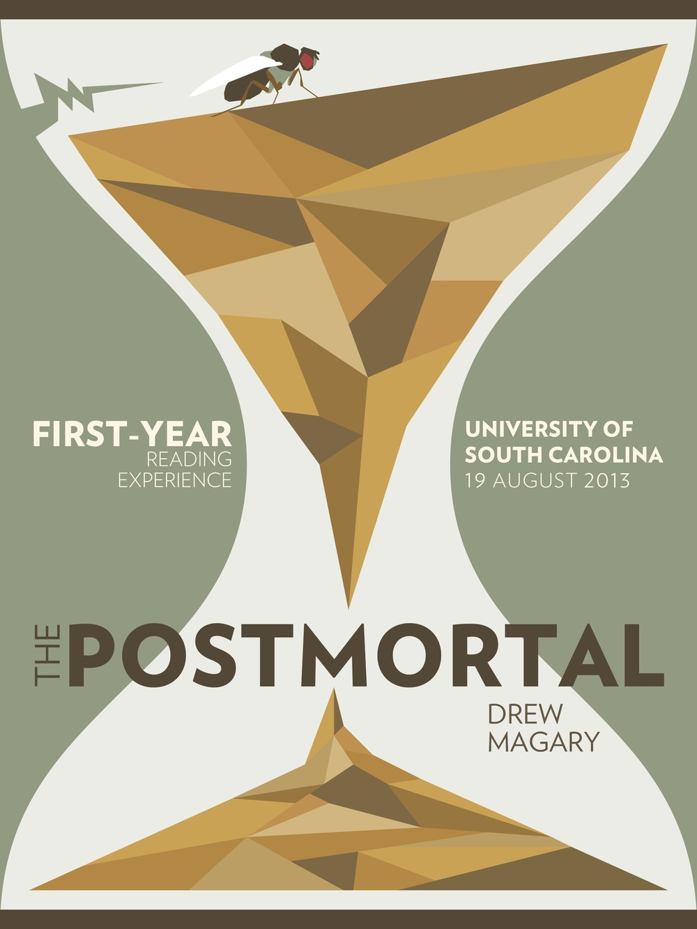 Poster designed for the First Year Reading Experience at the University of South Carolina for The Postmortal by Drew Magary