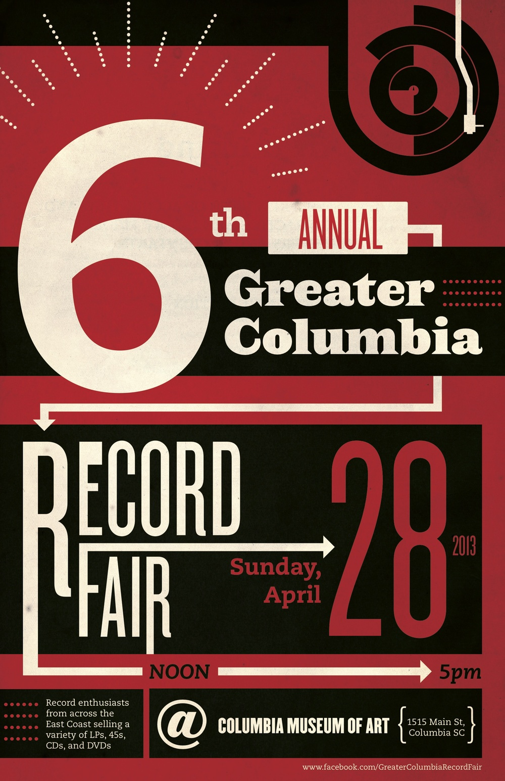 Promotional Poster for the 6th Annual Greater Columbia Record Fair