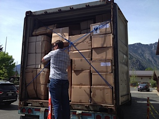 Today was a BLAST unloading this 40ft. truck filled to the max with the beautiful new furniture for the rooms!